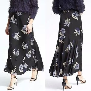 NEW Banana Republic Navy Floral Ruffle Maxi Skirt
